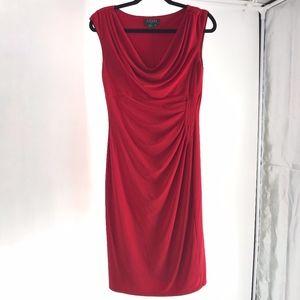 Ralph Lauren Red Cowl Neck Ruffled Dress Size 8